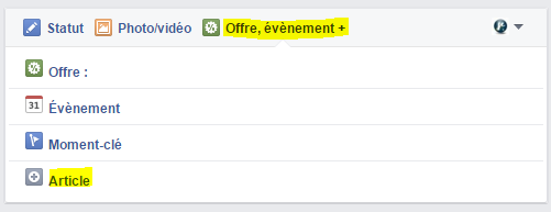 L'option Article se trouve dans les choix d'offre et événement quand vous faites une publication sur Facebook.